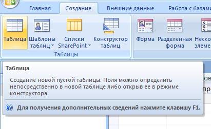 Начало работы в Access-2007. Создание базы данных, операции с таблицами. Среда визуального программирования баз данных MS Access